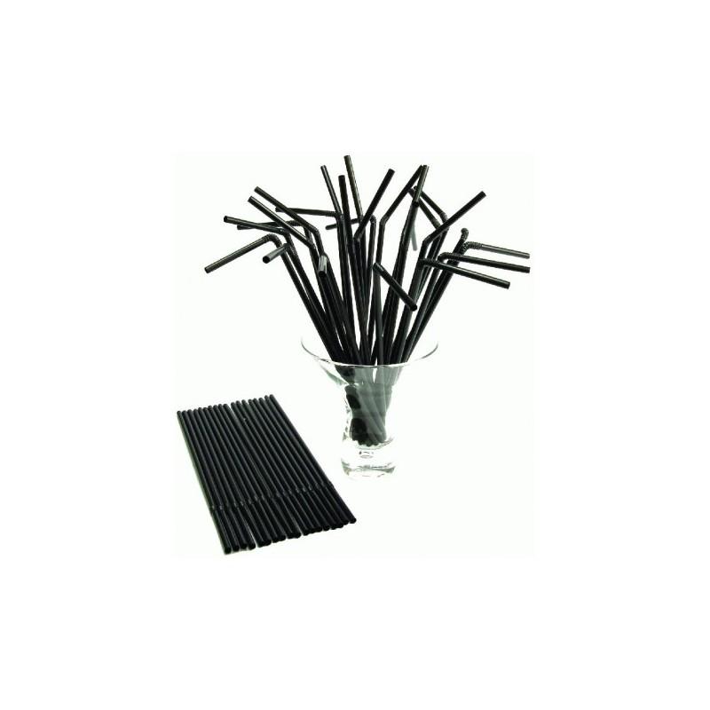 Paille Flexible noire 210x6mm