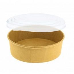 Bol à salade rond carton brun 500 ml + couvercle