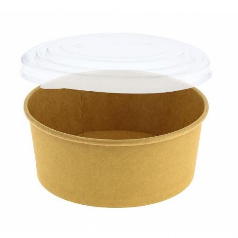 Bol à salade rond carton brun 750 ml + couvercle