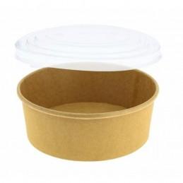 Bol à salade rond carton brun 1\'000/1\'300 ml + couvercle