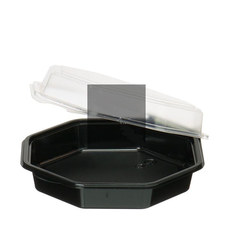 Barquette octo PS noir 190x190x60 mm